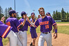 Cortland Crush Justin Valentino (15) getting High Fives after defeating the Syracuse Salt Cats on Greg's Field at Beaudry Park in Cortland, New York on Saturday, June 16, 2018.