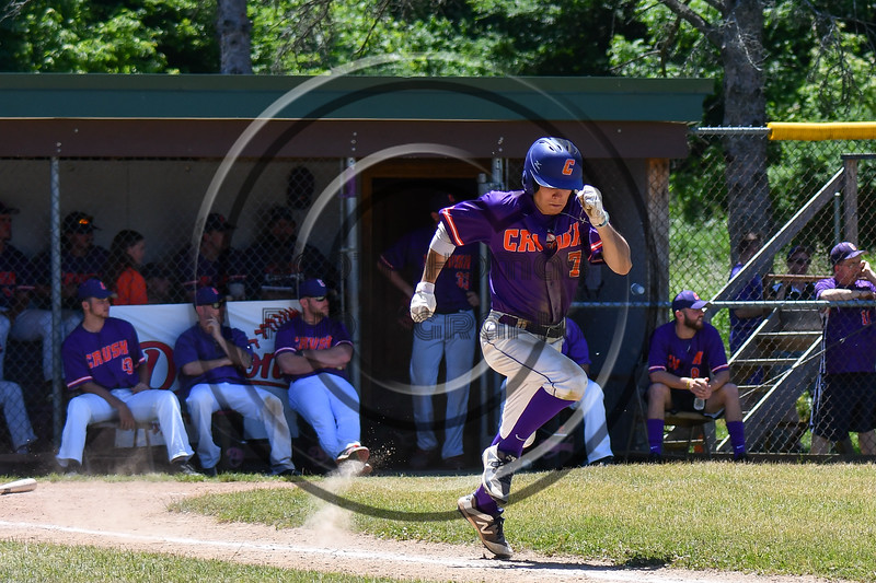 Cortland Crush Tyler McKeon (7) running up the 1st Base line after hitting the ball against the Syracuse Salt Cats on Greg's Field at Beaudry Park in Cortland, New York on Saturday, June 16, 2018. Cortland won 10-0.