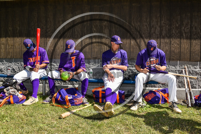 Cortland Crush players before playing the Syracuse Salt Cats on Greg's Field at Beaudry Park in Cortland, New York on Saturday, June 16, 2018.