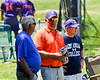 Cortland Crush Dads watching the game against the Syracuse Salt Cats on Greg's Field at Beaudry Park in Cortland, New York on Saturday, June 16, 2018. Cortland won 10-0.