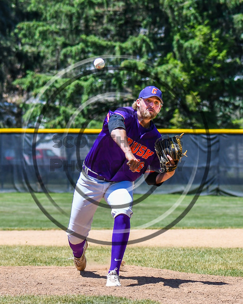 Cortland Crush Alex Larson (26) pitching against the Syracuse Salt Cats on Greg's Field at Beaudry Park in Cortland, New York on Saturday, June 16, 2018. Cortland won 10-0.