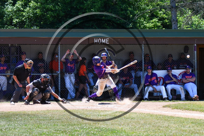 Cortland Crush Tyler McKeon (7) gets a hit against the Syracuse Salt Cats on Greg's Field at Beaudry Park in Cortland, New York on Saturday, June 16, 2018. Cortland won 10-0.