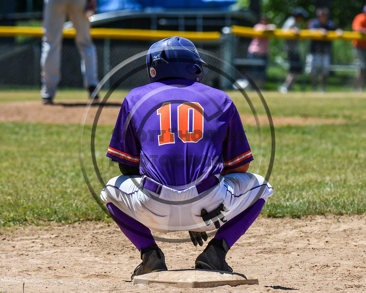 Cortland Crush Nelson Laviosa (10) during a timeout at 1st Base against the Syracuse Salt Cats on Greg's Field at Beaudry Park in Cortland, New York on Saturday, June 16, 2018. Cortland won 10-0.