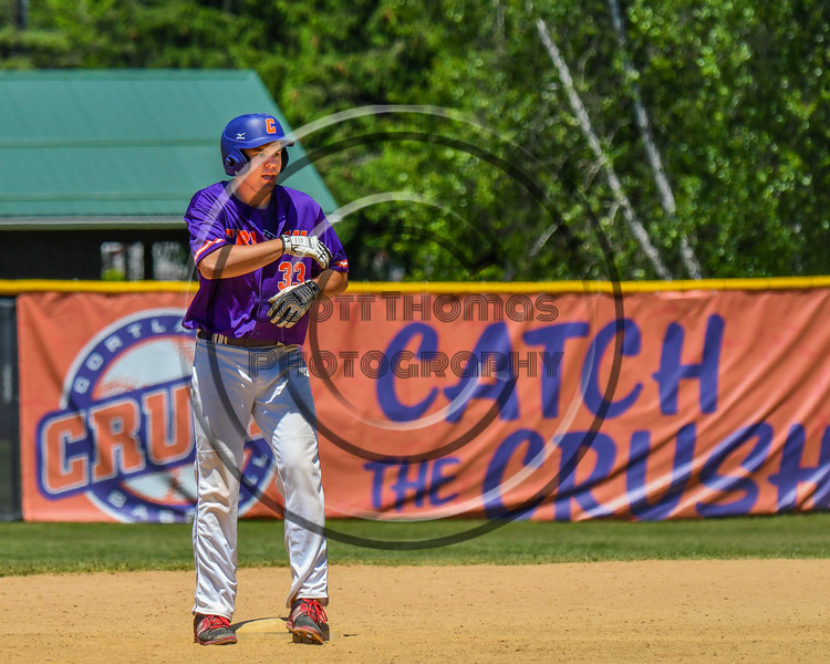 Cortland Crush Zach Kelley (33) celebrating his Double against the Syracuse Salt Cats on Greg's Field at Beaudry Park in Cortland, New York on Saturday, June 16, 2018. Cortland won 10-0.