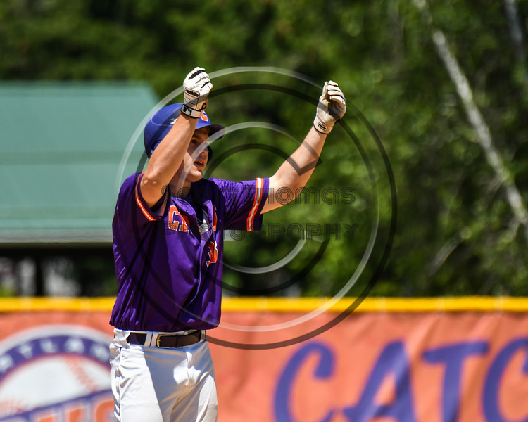 Cortland Crush Zach Kelley (33) celebrates his Double he hit against the Syracuse Salt Cats on Greg's Field at Beaudry Park in Cortland, New York on Saturday, June 16, 2018. Cortland won 10-0.
