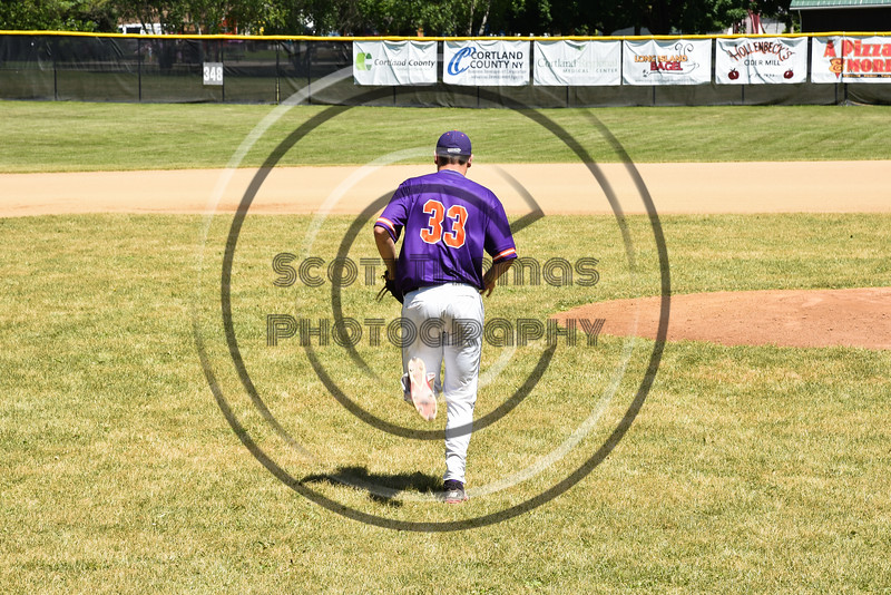Cortland Crush Zach Kelley (33) being introduced before playing the Syracuse Salt Cats on Greg's Field at Beaudry Park in Cortland, New York on Saturday, June 16, 2018.