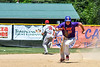 Cortland Crush Zach Kelley (33) heads to 3rd Base after a throwing error by the Syracuse Salt Cats on Greg's Field at Beaudry Park in Cortland, New York on Saturday, June 16, 2018. Cortland won 10-0.