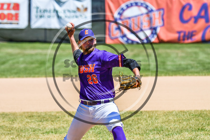 Cortland Crush Alex Larson (26) ptiching against the Syracuse Salt Cats on Greg's Field at Beaudry Park in Cortland, New York on Saturday, June 16, 2018. Cortland won 10-0.