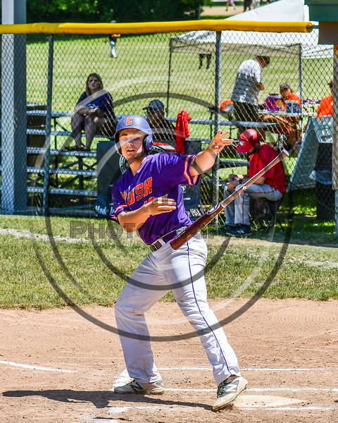 Cortland Crush Alex Babcock (16) tosses his bat after being walked against the Syracuse Salt Cats on Greg's Field at Beaudry Park in Cortland, New York on Saturday, June 16, 2018. Cortland won 10-0.