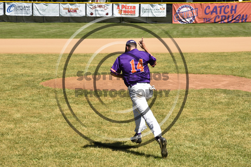 Cortland Crush Dylan Ketch (14) being introduced before playing the Syracuse Salt Cats on Greg's Field at Beaudry Park in Cortland, New York on Saturday, June 16, 2018.