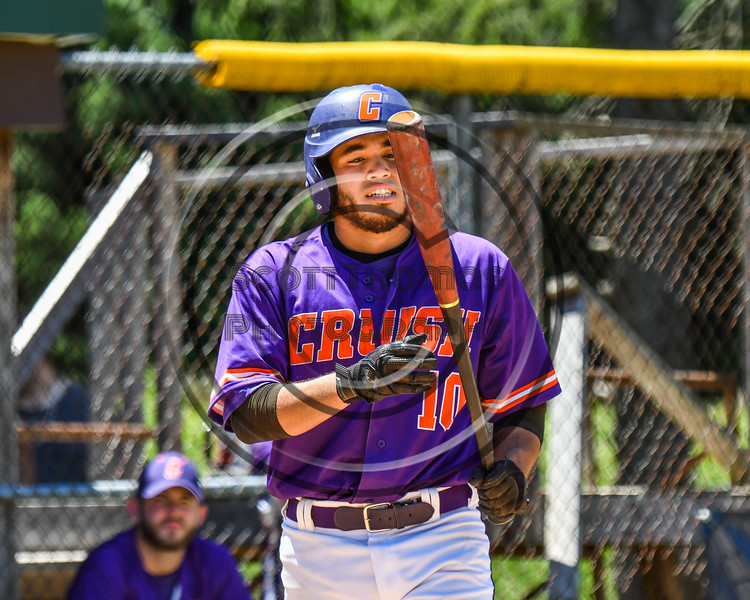 Cortland Crush Nelson Laviosa (10) walking up to hit against the Syracuse Salt Cats on Greg's Field at Beaudry Park in Cortland, New York on Saturday, June 16, 2018. Cortland won 10-0.