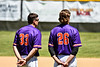 Cortland Crush Zach Kelley (33) and Alex Larson (26) standing for the National Anthem before playing the Syracuse Salt Cats in a Double Header on Greg's Field at Beaudry Park in Cortland, New York on Saturday, June 16, 2018.