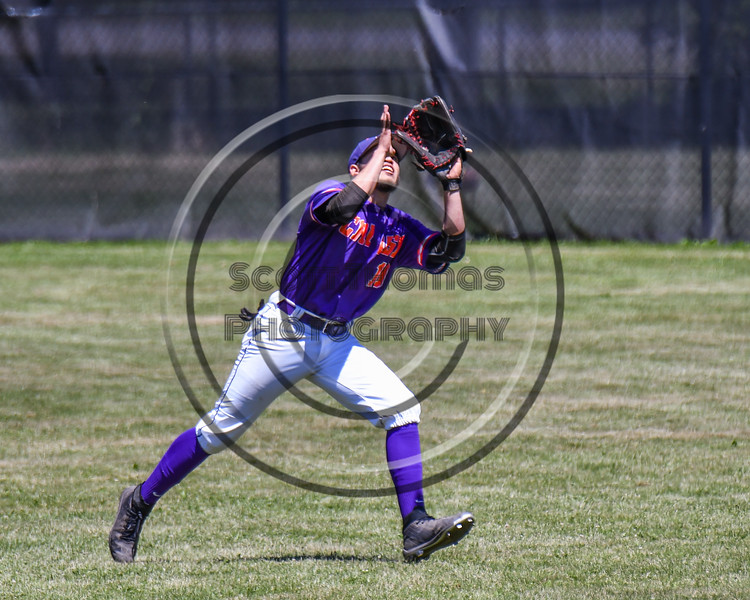 Cortland Crush Nelson Laviosa (10) running down a fly ball against the Syracuse Salt Cats on Greg's Field at Beaudry Park in Cortland, New York on Saturday, June 16, 2018. Cortland won 10-0.
