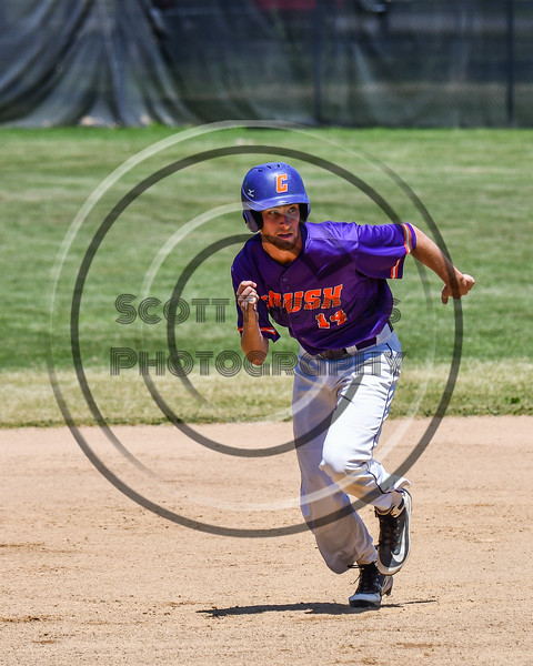 Cortland Crush Dylan Ketch (14) running the bases against the Syracuse Salt Cats on Greg's Field at Beaudry Park in Cortland, New York on Saturday, June 16, 2018. Cortland won 10-0.