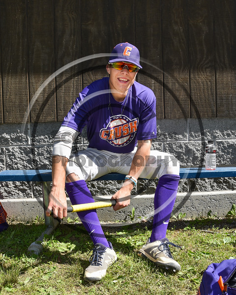 Cortland Crush Tyler McKeon (7) preparing for the Double Header against the Syracuse Salt Cats on Greg's Field at Beaudry Park in Cortland, New York on Saturday, June 16, 2018.