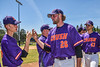 Cortland Crush Alex Larson (26) getting High Fives after pitching a shutout against the Syracuse Salt Cats on Greg's Field at Beaudry Park in Cortland, New York on Saturday, June 16, 2018.