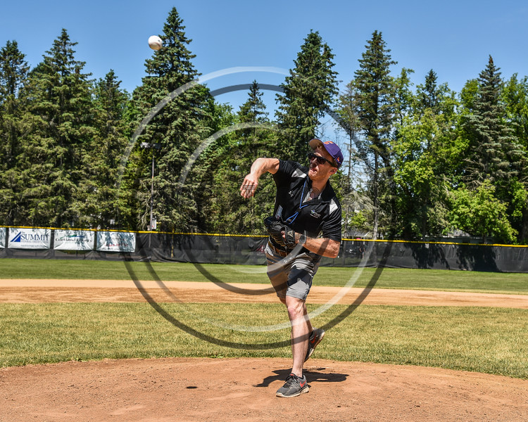 Cortland Crush Athletic Trainer Anthony Spinelli throwing out the First Pitch before the game against the Syracuse Salt Cats on Greg's Field at Beaudry Park in Cortland, New York on Saturday, June 16, 2018.