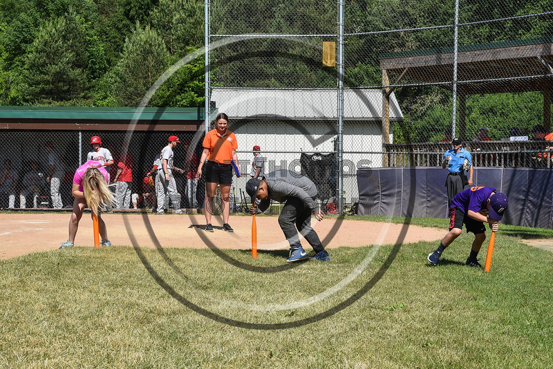 Young Cortland Crush fans participating in a promotion on Greg's Field at Beaudry Park in Cortland, New York on Saturday, June 16, 2018.