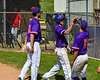 Cortland Crush Alex Flock (2) getting congratulated after scoring a run against the Syracuse Salt Cats on Greg's Field at Beaudry Park in Cortland, New York on Saturday, June 16, 2018. Syracuse won 8-6.