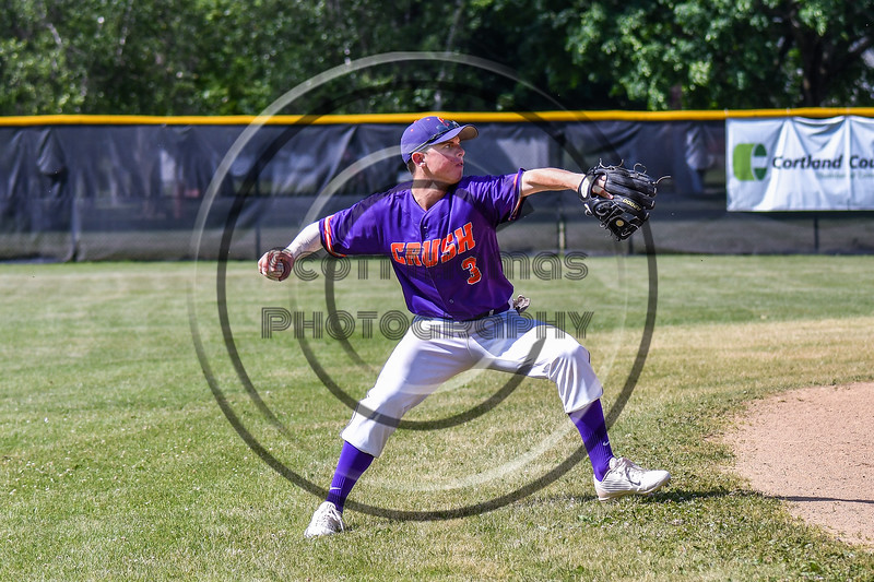 Cortland Crush Anthony Cieszko (3) fielding and throwing the ball against the Syracuse Salt Cats on Greg's Field at Beaudry Park in Cortland, New York on Saturday, June 16, 2018. Syracuse won 8-6.