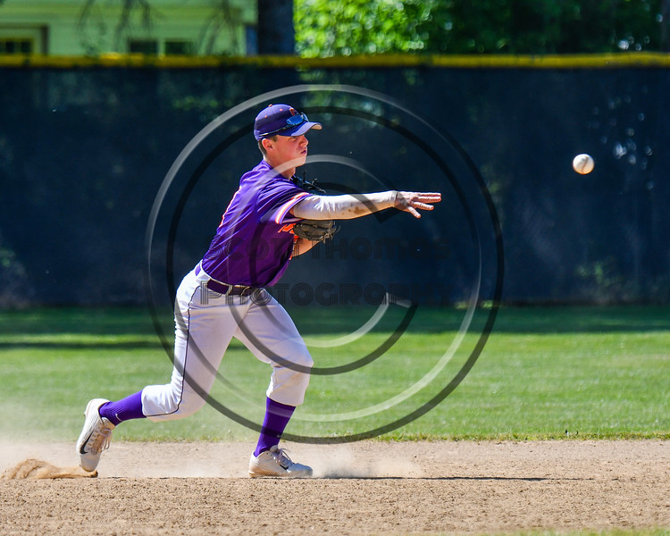 Cortland Crush Anthony Cieszko (3) fields and throwing the ball against the Syracuse Salt Cats on Greg's Field at Beaudry Park in Cortland, New York on Saturday, June 16, 2018. Syracuse won 8-6.