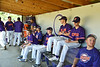 Cortland Crush players in the Dug Out duirng the game against the Syracuse Salt Cats on Greg's Field at Beaudry Park in Cortland, New York on Saturday, June 16, 2018.