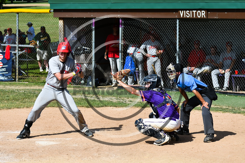Cortland Crush Dylan Ketch (14) catching against the Syracuse Salt Cats on Greg's Field at Beaudry Park in Cortland, New York on Saturday, June 16, 2018. Syracuse won 8-6.