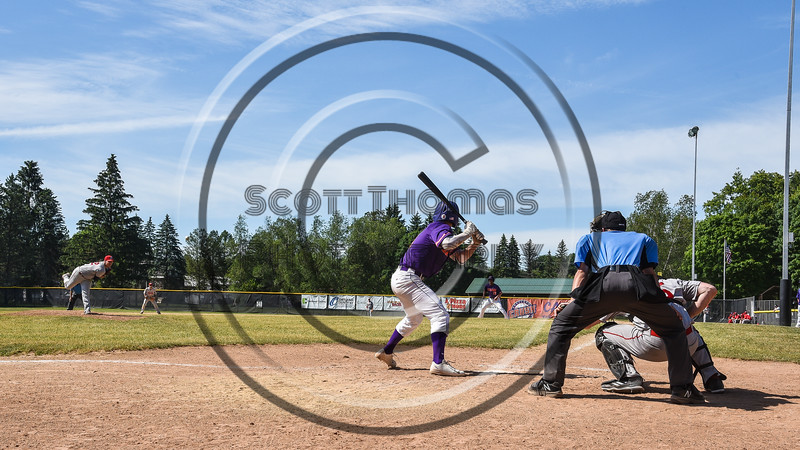 Cortland Crush Anthony Cieszko (3) batting against the Syracuse Salt Cats on Greg's Field at Beaudry Park in Cortland, New York on Saturday, June 16, 2018.