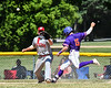 Cortland Crush Justin Valentino (15) beats the throw to 1st Bas against the Syracuse Salt Cats on Greg's Field at Beaudry Park in Cortland, New York on Saturday, June 16, 2018. Syracuse won 8-6.