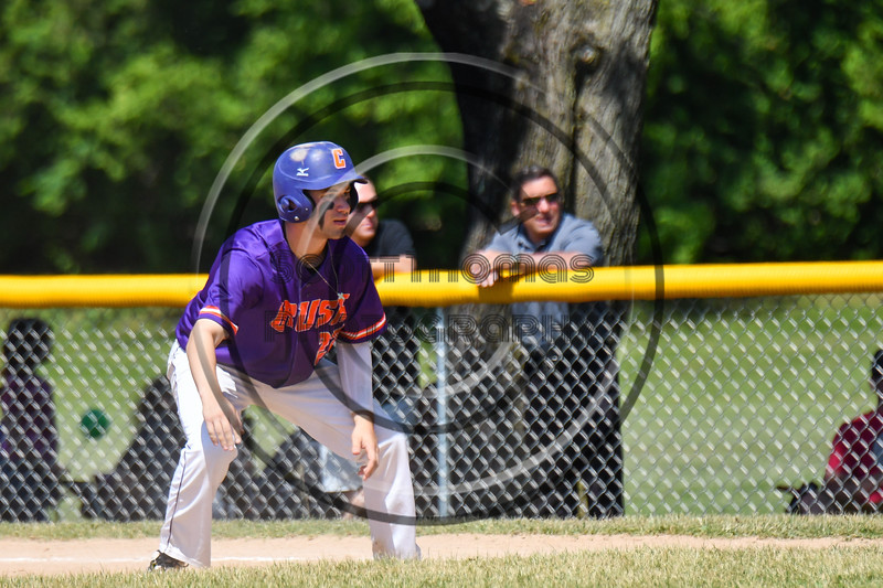 Cortland Crush Nick Palma (27) taking a lead off of 1st Base against the Syracuse Salt Cats on Greg's Field at Beaudry Park in Cortland, New York on Saturday, June 16, 2018. Syracuse won 8-6.