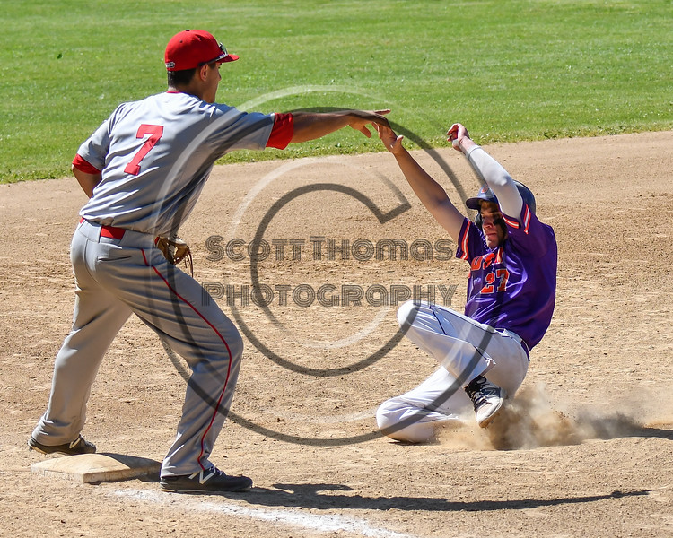 Cortland Crush Nick Palma (27) sliding into 3rd Base against the Syracuse Salt Cats on Greg's Field at Beaudry Park in Cortland, New York on Saturday, June 16, 2018. Syracuse won 8-6.