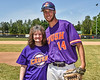 Ames Linen Service representative with Cortland Crush Dylan Ketch (14) after throwing out the First Pitch before a NYCBL game on Greg's Field at Beaudry Park in Cortland, New York on Saturday, June 16, 2018.