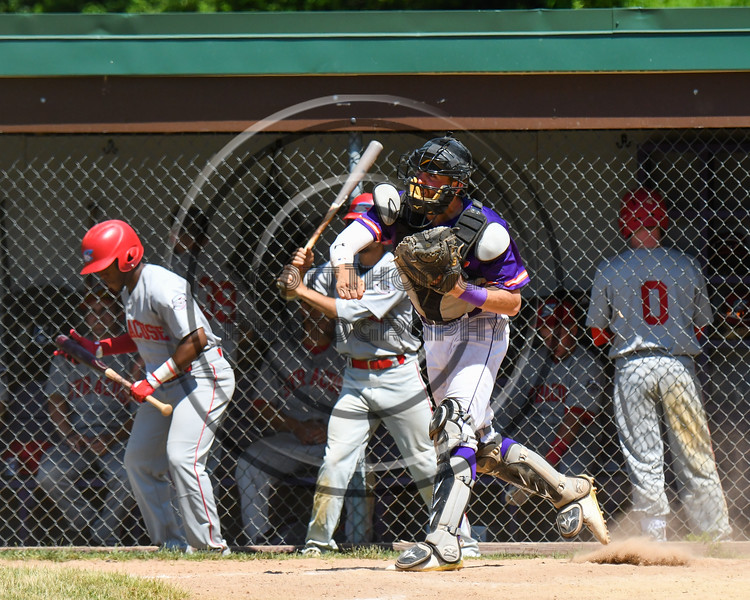 Cortland Crush Catcher Justin Valentino (15) throwing the ball against the Syracuse Salt Cats on Greg's Field at Beaudry Park in Cortland, New York on Saturday, June 16, 2018. Syracuse won 8-6.