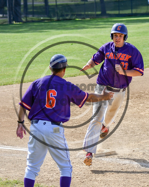 Cortland Crush Zach Kelley (33) trotting home to score against the Syracuse Salt Cats on Greg's Field at Beaudry Park in Cortland, New York on Saturday, June 16, 2018. Syracuse won 8-6.