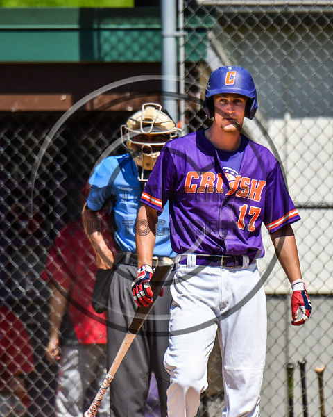 Cortland Crush Jimmy Tatum (17) before his at bat against the Syracuse Salt Cats on Greg's Field at Beaudry Park in Cortland, New York on Saturday, June 16, 2018. Syracuse won 8-6.