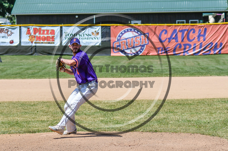 Cortland Crush Michael Perreault (8) pitching against the Syracuse Salt Cats on Greg's Field at Beaudry Park in Cortland, New York on Saturday, June 16, 2018. Syracuse won 8-6.