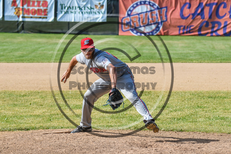 Syracuse Salt Cats Peter Joseph (27) pitching against the Cortland Crush on Greg's Field at Beaudry Park in Cortland, New York on Saturday, June 16, 2018. Syracuse won 8-6.