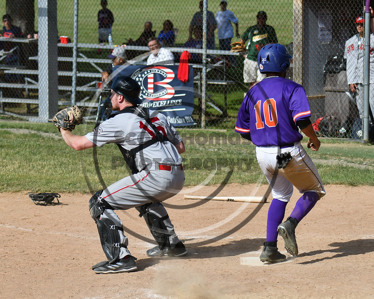 Cortland Crush Nelson Laviosa (10) scores a run against the Syracuse Salt Cats on Greg's Field at Beaudry Park in Cortland, New York on Saturday, June 16, 2018. Syracuse won 8-6.