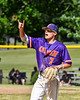 Cortland Crush Tyler McKeon (7) communicating 2 outs against the Syracuse Salt Cats on Greg's Field at Beaudry Park in Cortland, New York on Saturday, June 16, 2018. Syracuse won 8-6.