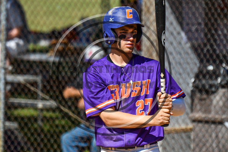 Cortland Crush Nick Palma (27) before his at bat against the Syracuse Salt Cats on Greg's Field at Beaudry Park in Cortland, New York on Saturday, June 16, 2018. Syracuse won 8-6.