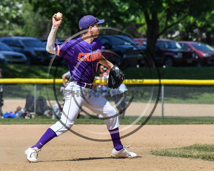 Cortland Crush Anthony Cieszko (3) throwing the ball against the Syracuse Salt Cats on Greg's Field at Beaudry Park in Cortland, New York on Saturday, June 16, 2018. Syracuse won 8-6.