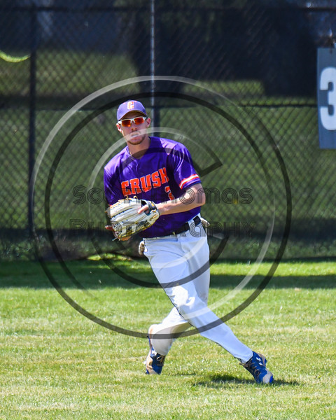 Cortland Crush Alex Flock (2) catches and throws the ball against the Syracuse Salt Cats on Greg's Field at Beaudry Park in Cortland, New York on Saturday, June 16, 2018. Syracuse won 8-6.