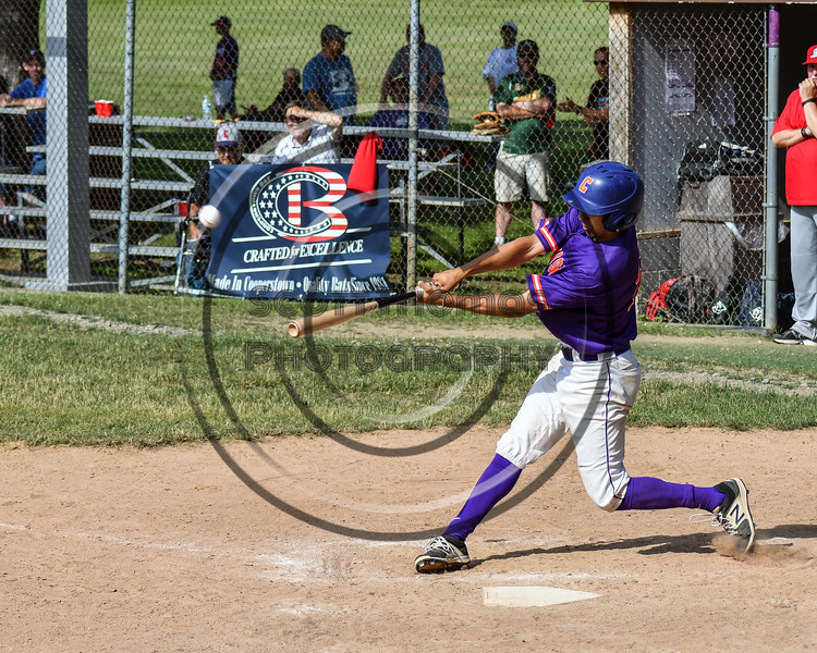 Cortland Crush Joe Palmo (21) launches a Home Run against the Syracuse Salt Cats on Greg's Field at Beaudry Park in Cortland, New York on Saturday, June 16, 2018. Syracuse won 8-6.