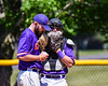 Cortland Crush Catcher Justin Valentino (15) talks with Pitcher Michael Perreault (8) on the mound against the Syracuse Salt Cats on Greg's Field at Beaudry Park in Cortland, New York on Saturday, June 16, 2018. Syracuse won 8-6.