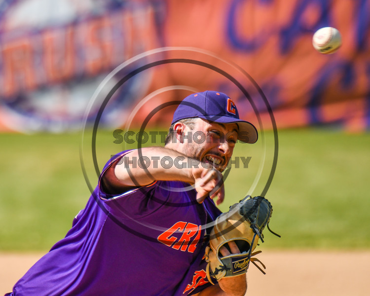 Cortland Crush Brenden Clanton (34) pitching against the Syracuse Salt Cats on Greg's Field at Beaudry Park in Cortland, New York on Saturday, June 16, 2018. Syracuse won 8-6.