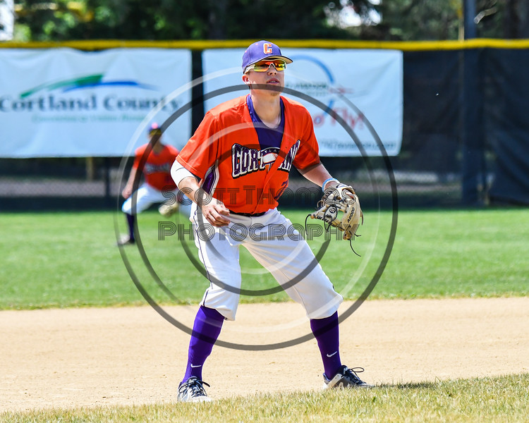 Cortland Crush Tyler McKeon (7) playing 3rd Base against the Sherrill Silversmiths on Greg's Field at Beaudry Park in Cortland, New York on Sunday, June 17, 2018. Cortland won 8-6.