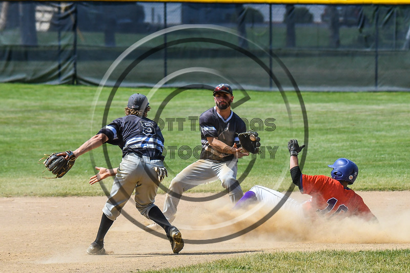 Cortland Crush Nelson Laviosa (10) slides into 2nd Base safe against the Sherrill Silversmiths on Greg's Field at Beaudry Park in Cortland, New York on Sunday, June 17, 2018. Cortland won 8-6.