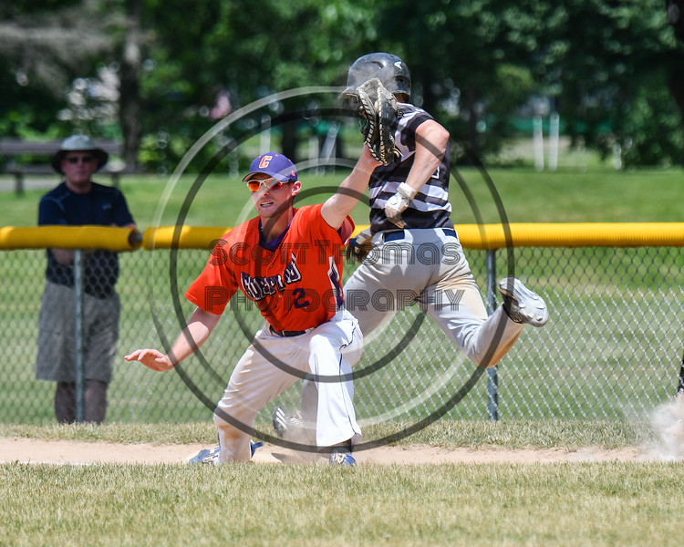 Cortland Crush Alex Flock (2) shows he has the ball before the Sherrill Silversmiths crosses 1st Base on Greg's Field at Beaudry Park in Cortland, New York on Sunday, June 17, 2018. Cortland won 8-6.