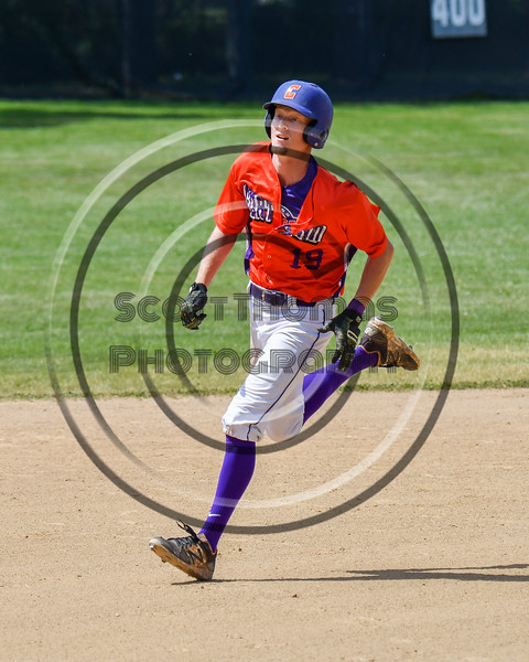 Cortland Crush Jonathan Triesler (19) running the bases against the Sherrill Silversmiths on Greg's Field at Beaudry Park in Cortland, New York on Sunday, June 17, 2018. Cortland won 8-6.