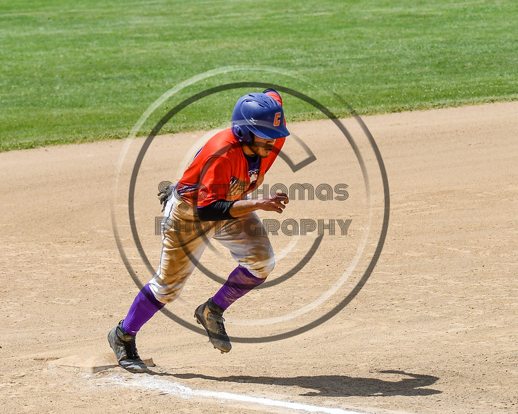 Cortland Crush Nelson Laviosa (10) tags up and scores a run against the Sherrill Silversmiths on Greg's Field at Beaudry Park in Cortland, New York on Sunday, June 17, 2018. Cortland won 8-6.
